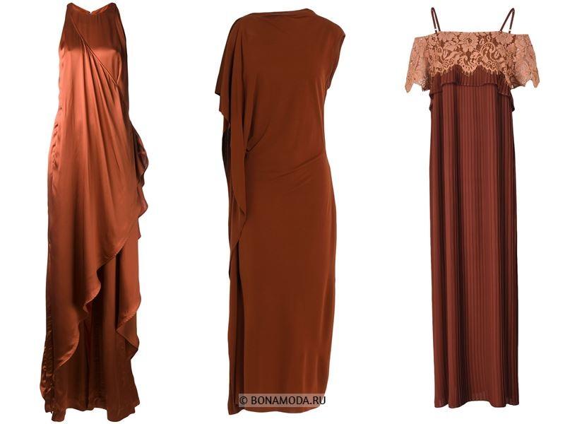 Цвета длинных платьев 2018 - красно-коричневые платья