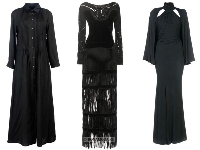 Цвета длинных платьев 2018 -  чёрные вечерние платья с длинными рукавами