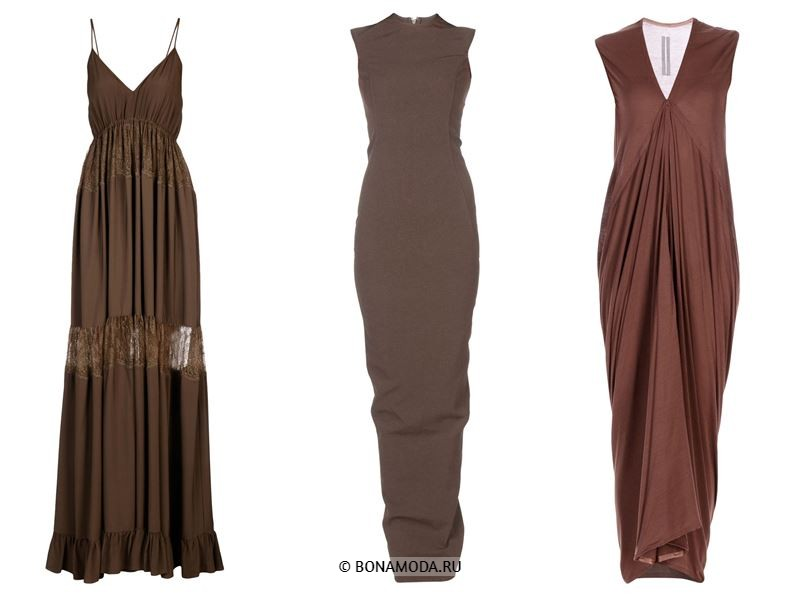 Цвета длинных платьев 2018 - серо- и шоколадно-коричневые платья