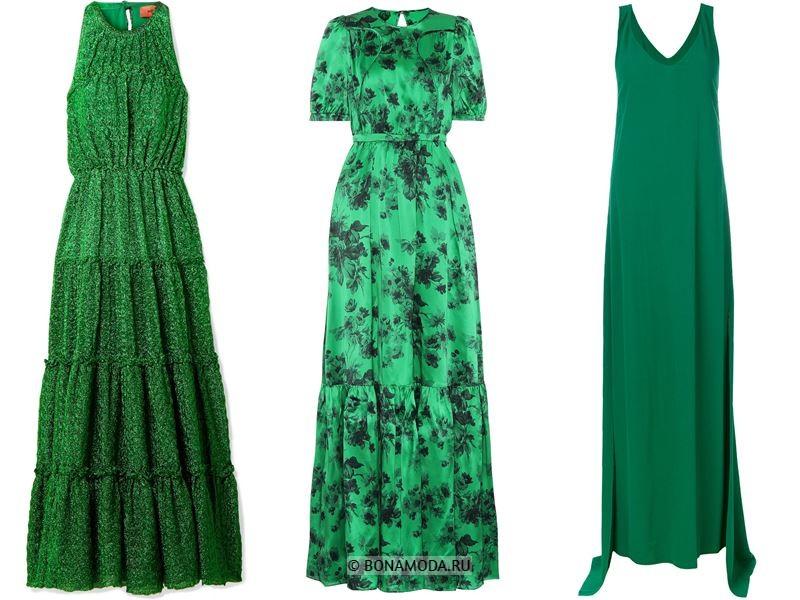 Цвета длинных платьев 2018 - ярко-зелёные платья