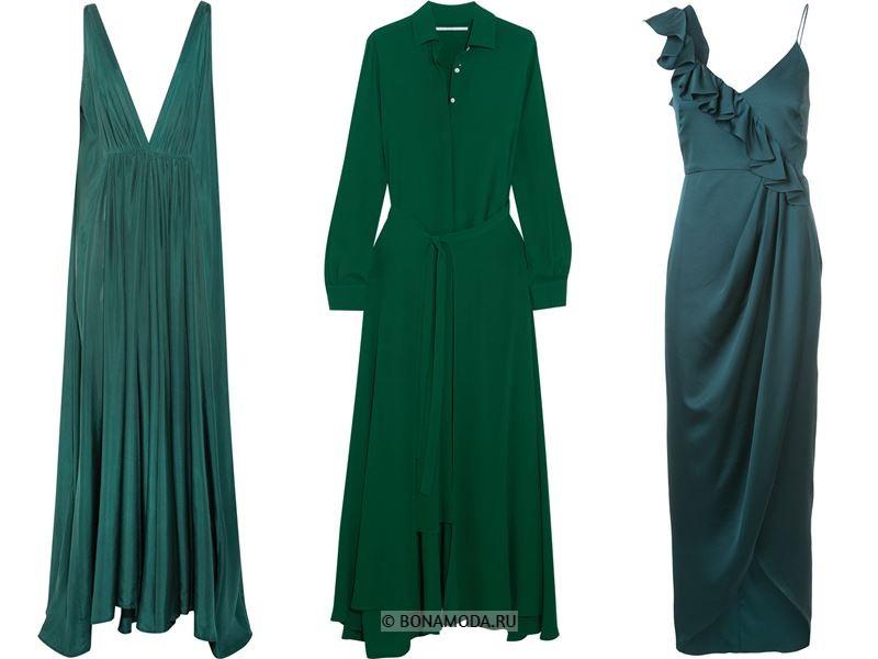 Цвета длинных платьев 2018 - тёмно-зелёные платья