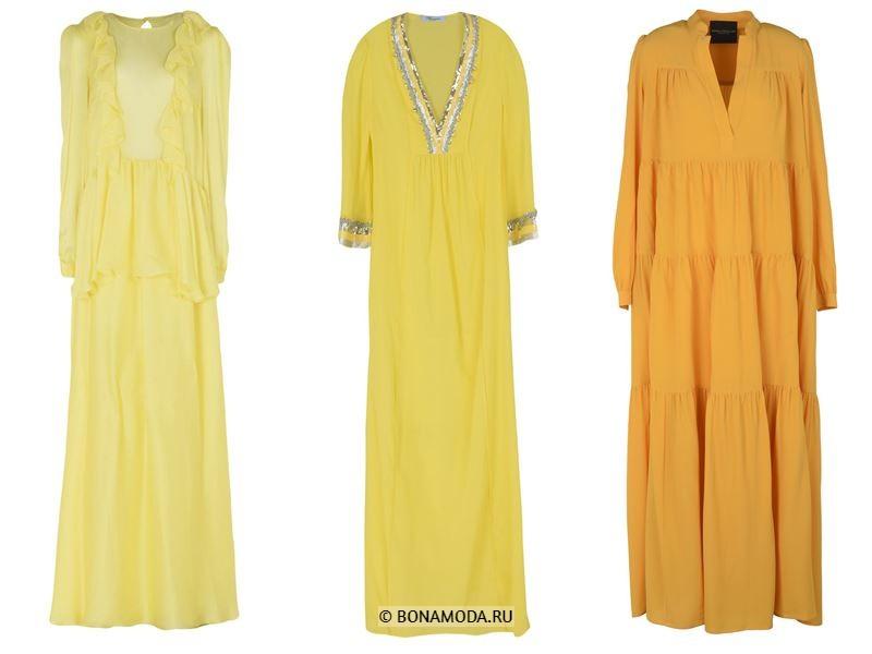 Цвета длинных платьев 2018 - жёлтые платья с длинными рукавами