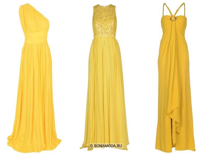 Цвета длинных платьев 2018 - жёлтые платья без рукавов