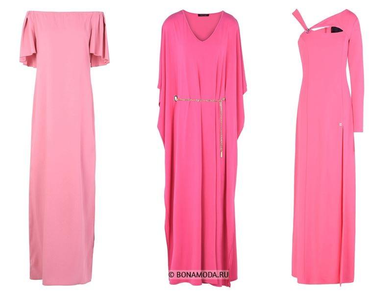 Цвета длинных платьев 2018 - ярко-розовые платья
