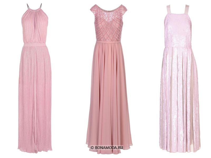 Цвета длинных платьев 2018 - пастельно-розовые платья с плиссировкой