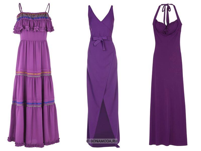 Цвета длинных платьев 2018 - фиолетовые платья без рукавов
