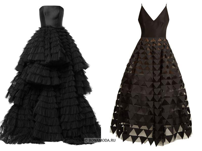 Цвета длинных платьев 2018 - чёрные пышные платья-бюстье