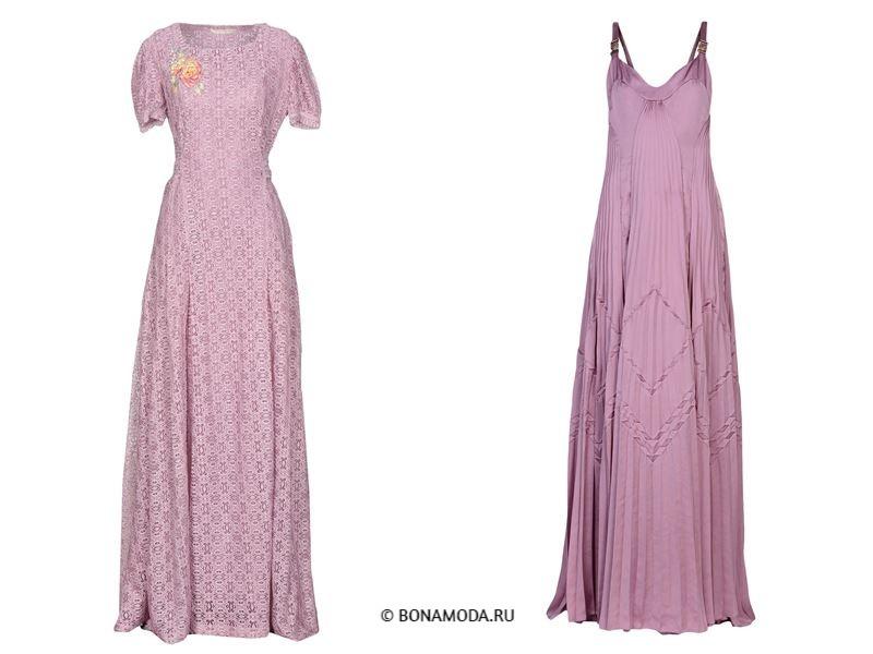 Цвета длинных платьев 2018 - приглушённо-сиреневые платья