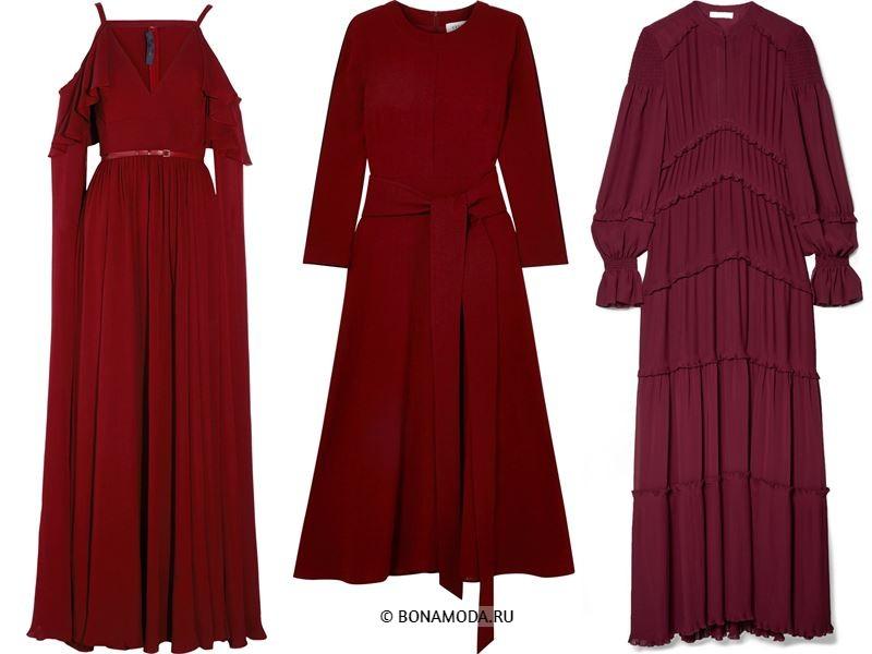Цвета длинных платьев 2018 -  бордовые платья с длинным рукавом
