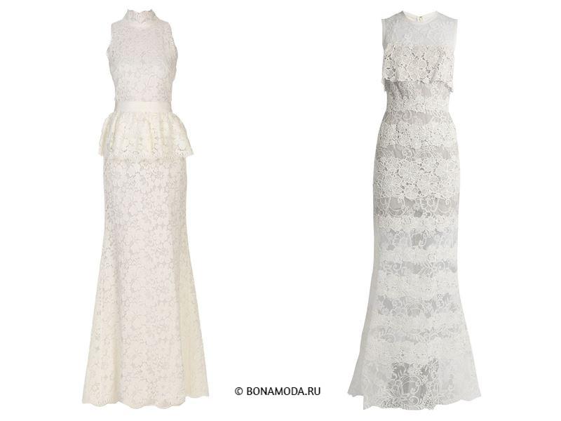 Цвета длинных платьев 2018 - белые кружевные платья