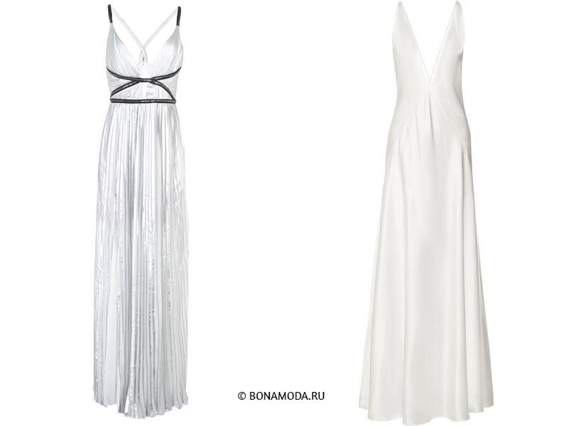 Цвета длинных платьев 2018 - белые вечерние платья без рукавов