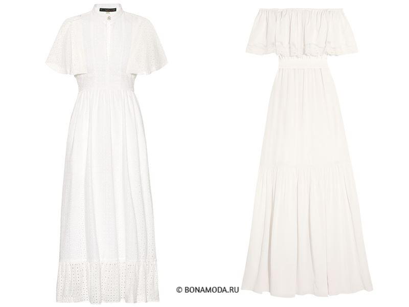 Цвета длинных платьев 2018 - белые платья с воланами на плечах