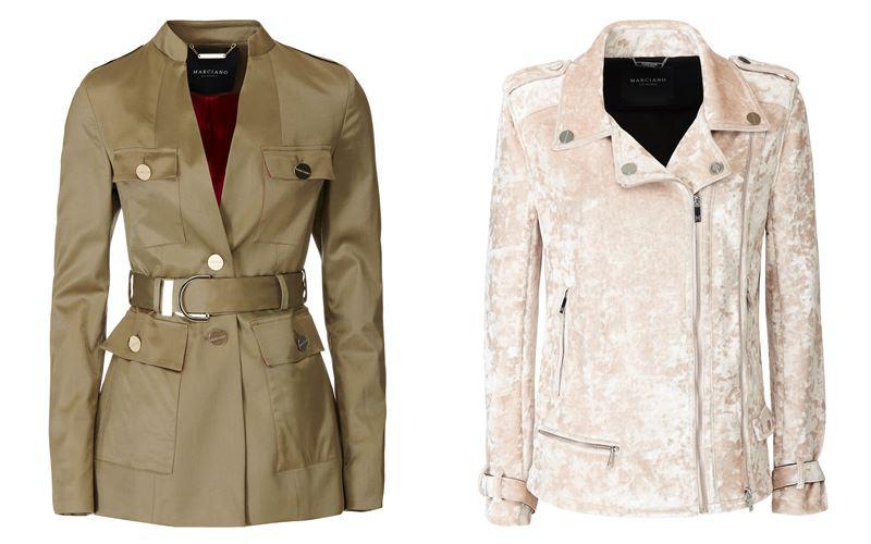 Женская коллекция Marciano Los Angeles весна-лето 2018 - куртка-сафари оттенка хаки и бежевая бархатная косуха