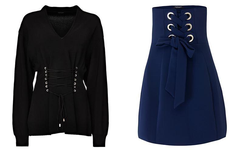 Женская коллекция Marciano Los Angeles весна-лето 2018 - Чёрная блузка и синяя юбка с корсетной шнуровкой