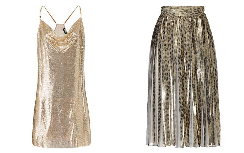 Женская коллекция Marciano Los Angeles весна-лето 2018 - Золотое платье и плиссированная леопардовая юбка