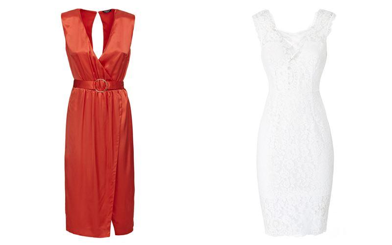 Женская коллекция Marciano Los Angeles весна-лето 2018 - Оранжевое и белое платья без рукавов