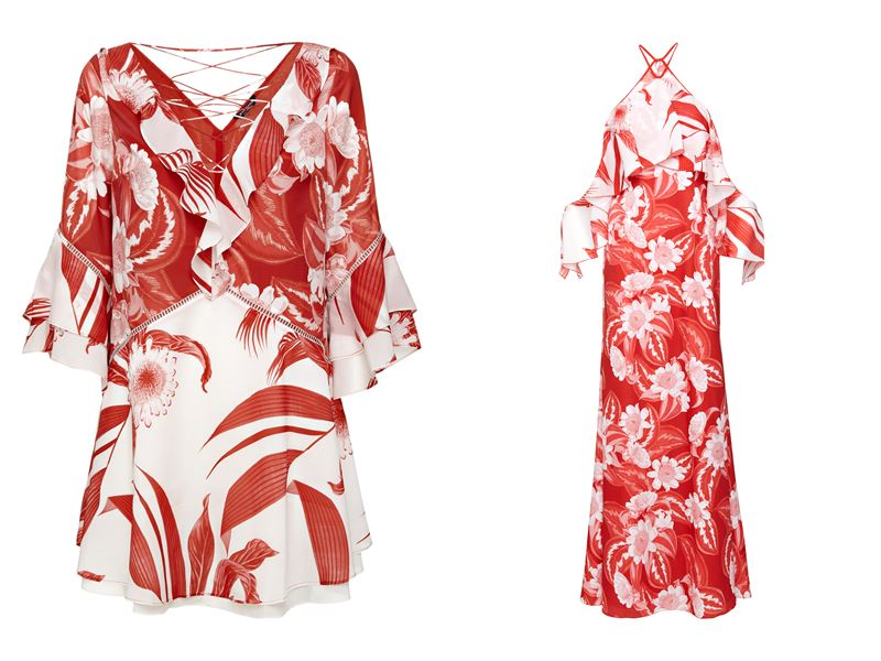 Женская коллекция Marciano Los Angeles весна-лето 2018 - туника и платье с воланами бело-красного цвета