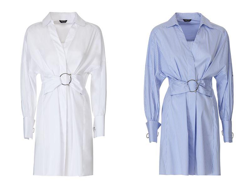 Женская коллекция Marciano Los Angeles весна-лето 2018 - Белое и голубое платья-рубашки с поясом