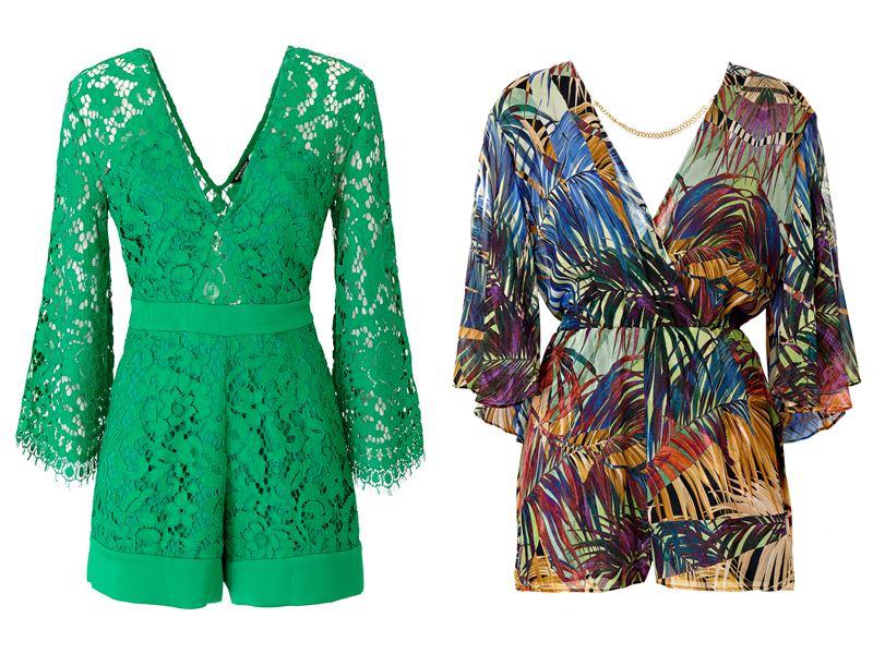 Женская коллекция Marciano Los Angeles весна-лето 2018 - комбишорты из зелёного кружева и с тропическим принтом