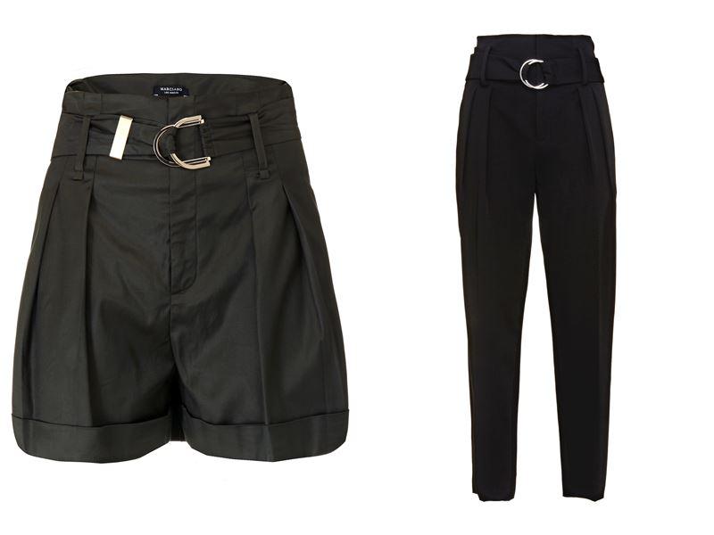 Женская коллекция Marciano Los Angeles весна-лето 2018 - Чёрные брюки и шорты с металлической пряжкой