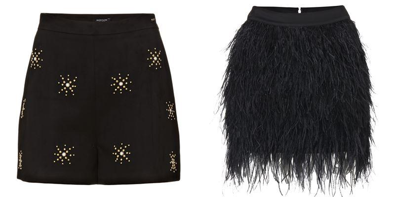 Женская коллекция Marciano Los Angeles весна-лето 2018 - Чёрные шорты с принтом и мини-юбка с перьями