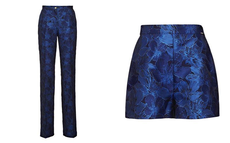 Женская коллекция Marciano Los Angeles весна-лето 2018 - Синие брюки и шорты с цветочным принтом