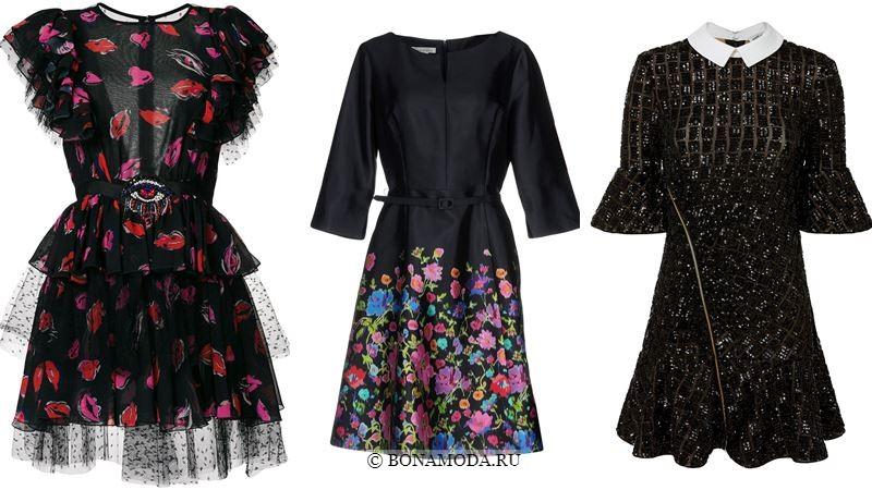 Модные короткие платья 2018 - чёрные платья - с шифоном, баской, цветочным принтом и пайетками