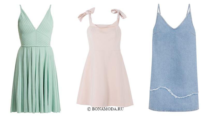 Модные короткие платья 2018 - летние сарафаны в пастельных тонах