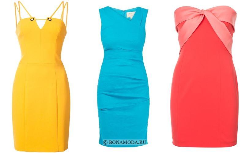 Модные короткие платья 2018 - Жёлтое, голубое и коралловое платья в обтяжку