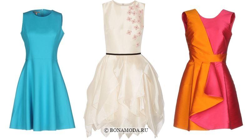 Модные короткие платья 2018 - голубое, белое и розово-оранжевое приталенное