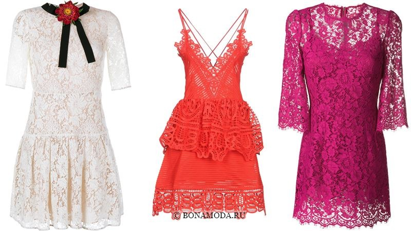 Модные короткие платья 2018 - Белое, оранжевое и розовое мини-платья из кружева