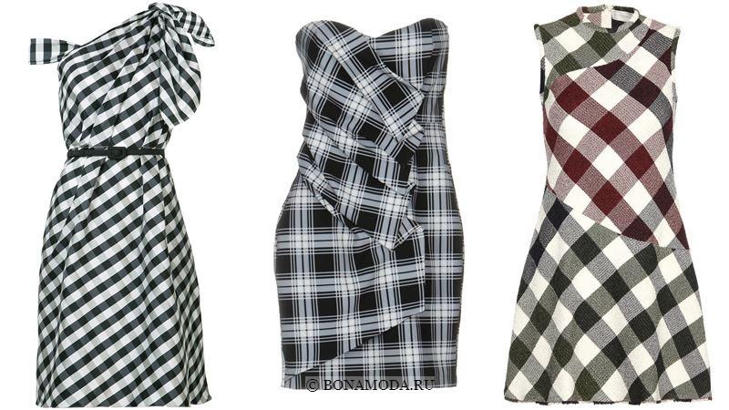 Модные короткие платья 2018 - Чёрно-белые платья в клетку