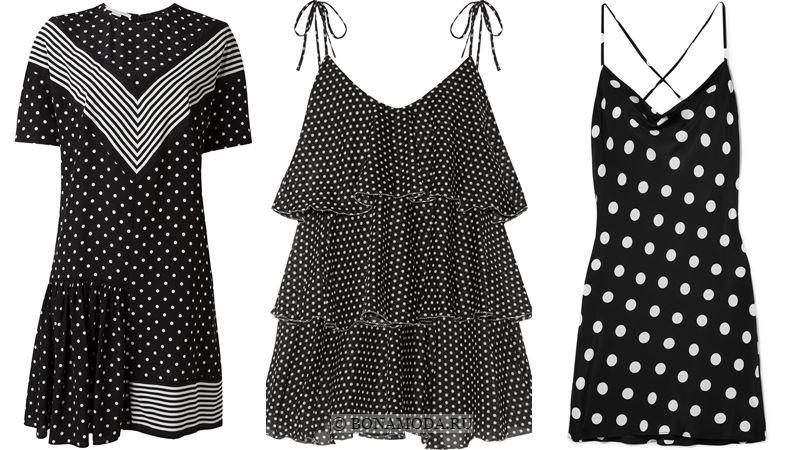 Модные короткие платья 2018 - Чёрно-белые платья в горошек