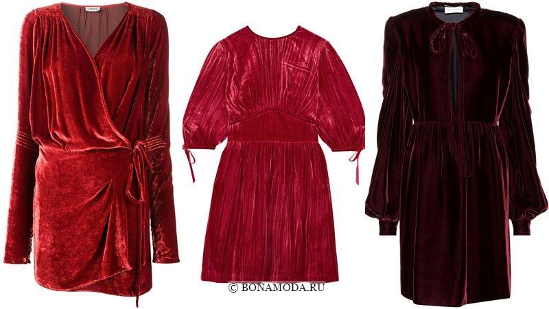 Модные короткие платья 2018 - красные бархатные с драпировками