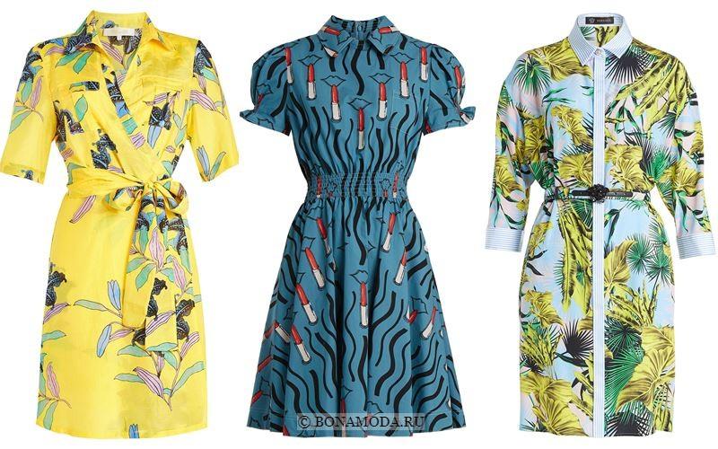 Модные короткие платья 2018 - Приталенные платья-рубашки с принтом