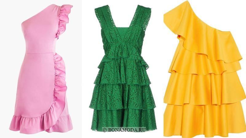 Модные короткие платья 2018 - Розовое, зелёное и жёлтое платья без рукавов с воланами