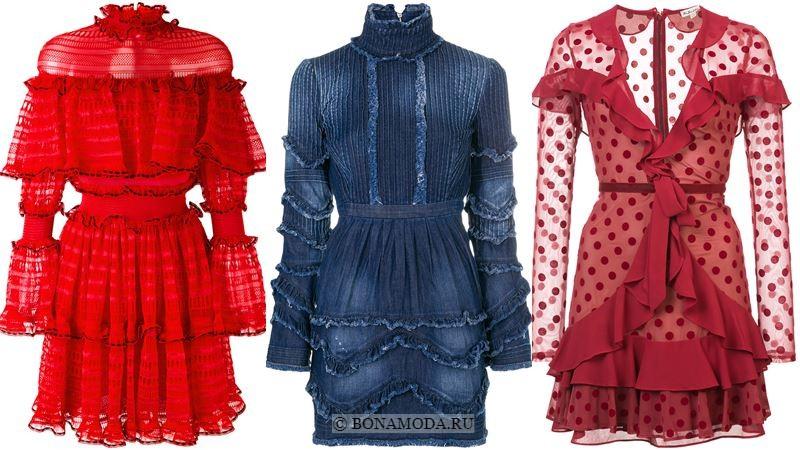 Модные короткие платья 2018 - Платья с воланами и длинными рукавами
