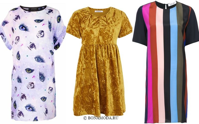 Модные короткие платья 2018 - платья-футболки на лето