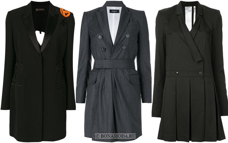 Модные короткие платья 2018 - Чёрные и серые платья-блейзер
