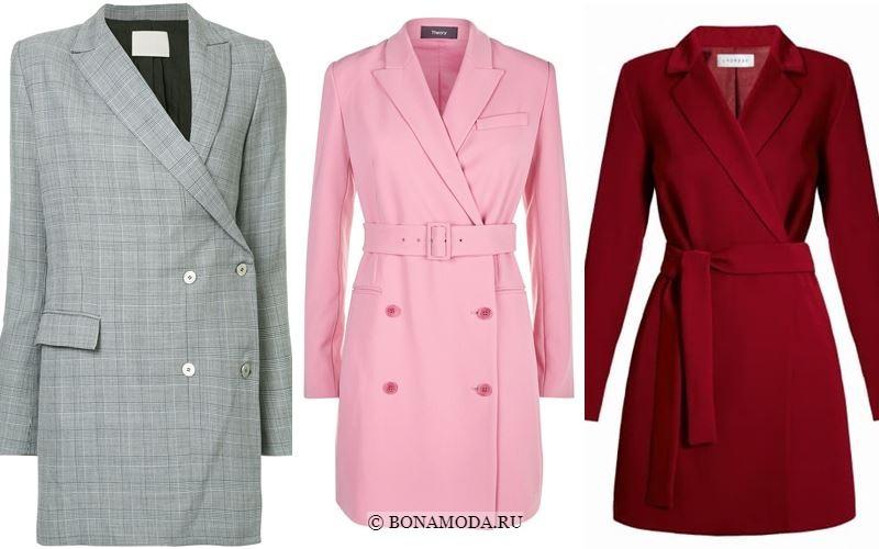 Модные короткие платья 2018 - Серое, розовое и красное платья-блейзер