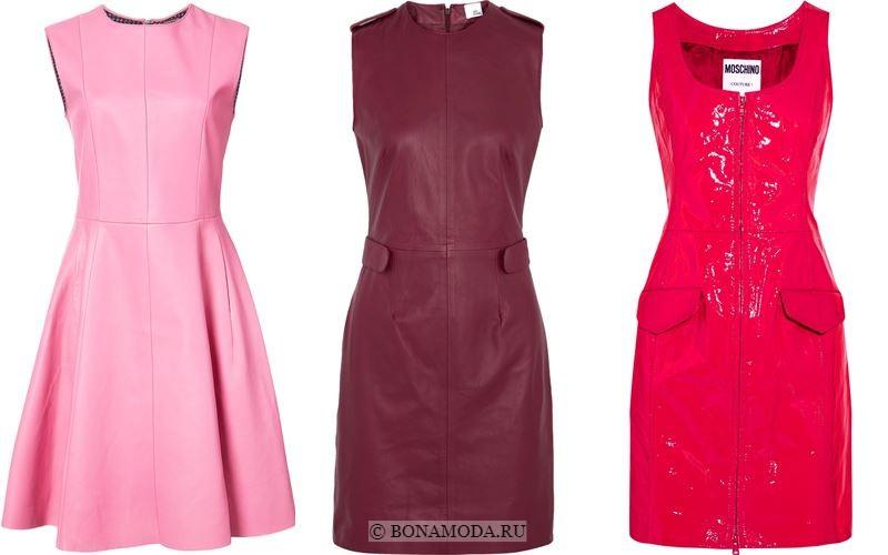 Модные короткие платья 2018 - Кожаные платья без рукавов в оттенках розового и бордового