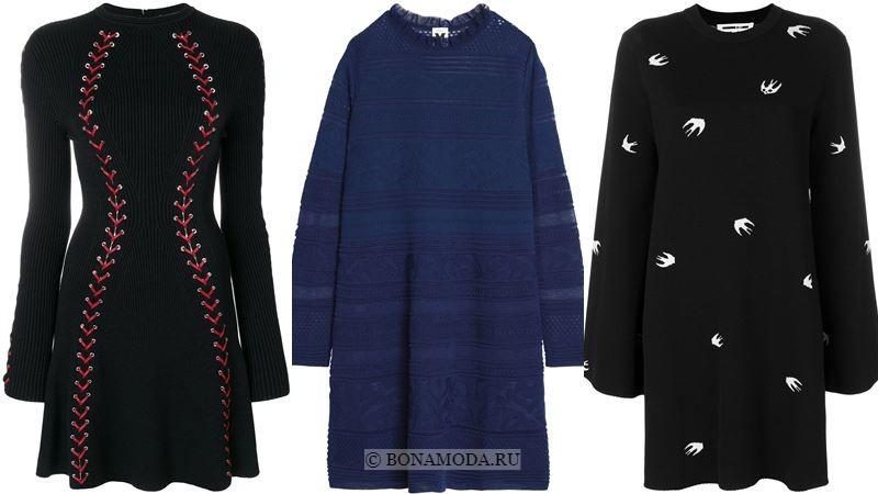 Модные короткие платья 2018 - чёрные и синие платья-свитер с длинными рукавами