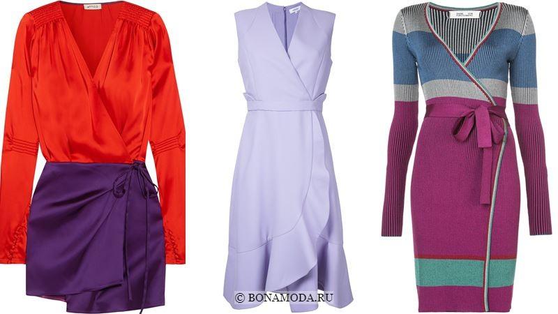Модные короткие платья 2018 - платья с запахом в оттенках фиолетового
