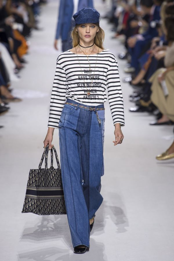 Женские джинсы весна-лето 2018 - Двухцветные широкие джинсы палаццо