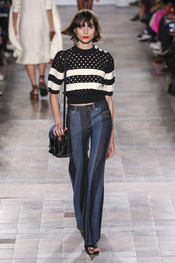 Женские джинсы весна-лето 2018 - Двухцветные джинсы в полоску