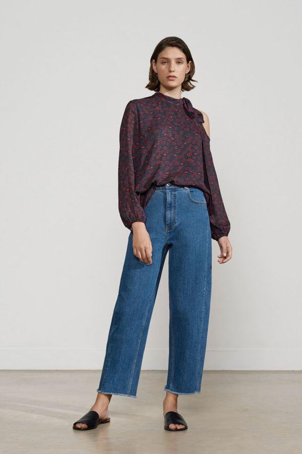 Женские джинсы весна-лето 2018 - Классические синие укороченные широкие джинсы