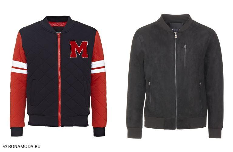 Мужская коллекция Marciano Los Angeles весна-лето 2018 - куртки-бомберы: красно-чёрная стёганая и чёрная замшевая