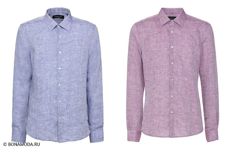 Мужская коллекция Marciano Los Angeles весна-лето 2018 - рубашки голубого и сиреневого  оттенков