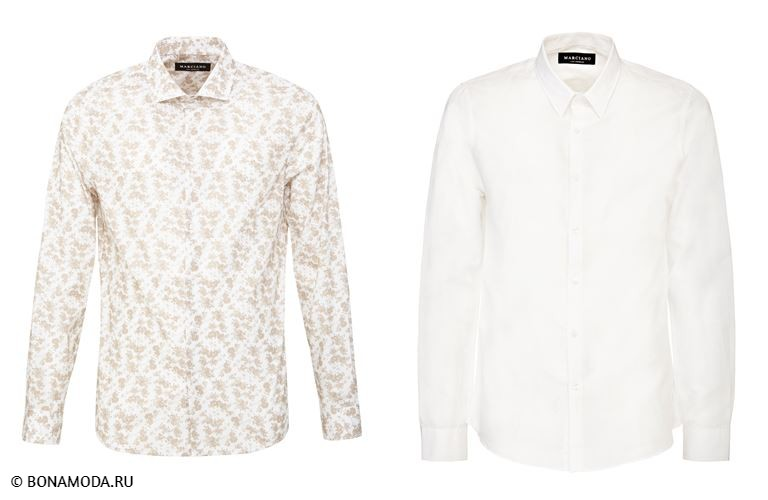 Мужская коллекция Marciano Los Angeles весна-лето 2018 - белые рубашки - однотонная и с принтом