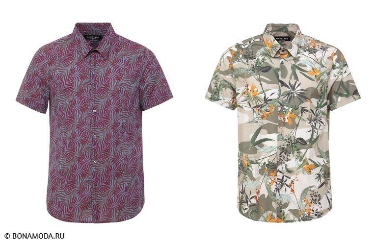 Мужская коллекция Marciano Los Angeles весна-лето 2018 - рубашки прилегающего кроя с тропическими принтами